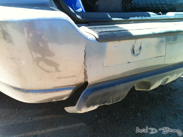 Torn rear bumper