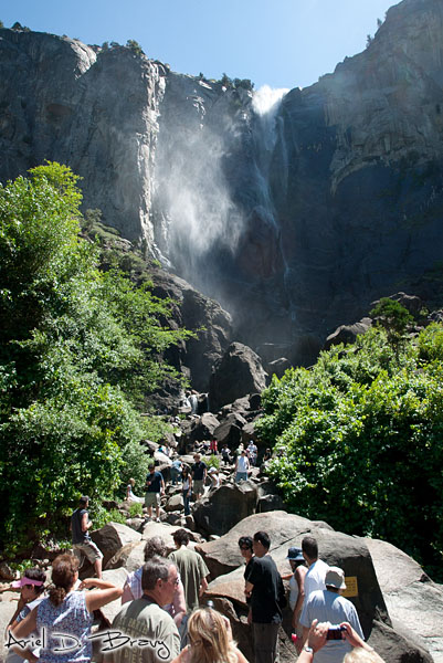 Bridalveil Falls full of people at midday