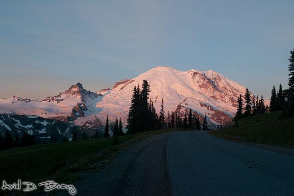 Driving by Mt. Rainier at sunrise