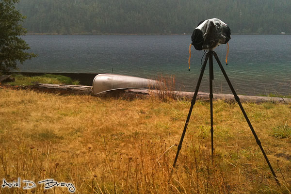 Raingear set up shooting timelapse on the lake