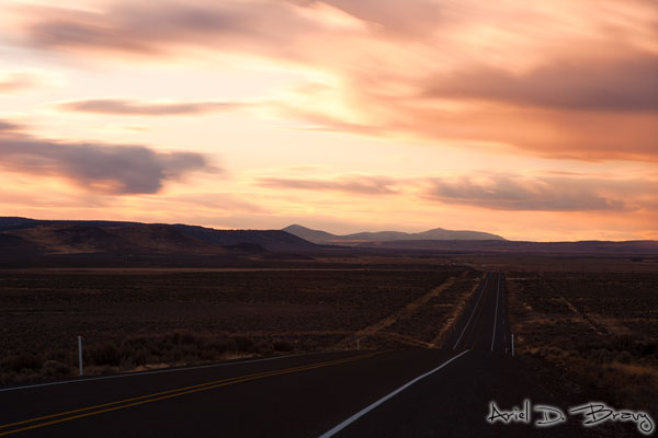 2 minute exposure of the highway at sunset