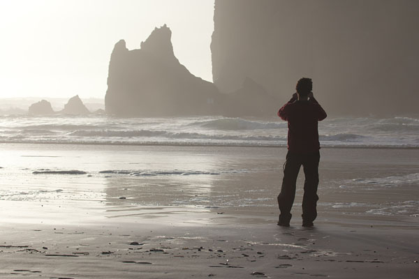 Ariel snapping some pics at Cannon Beach (shot by Matteo)