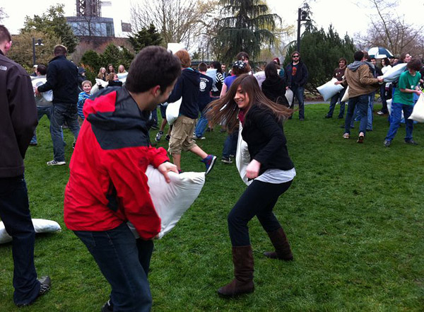 Ariel and Anna Pillow Fighting at Seattle Center