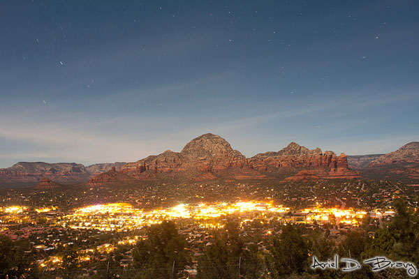 Sedona at night from the airport vortex