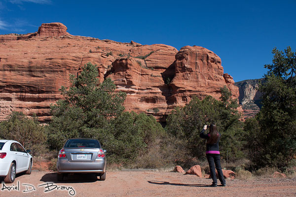 Snapping some pics of the red rocks when we stopped to get oriented