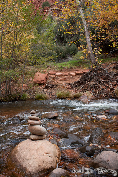 Stacked rocks in the water