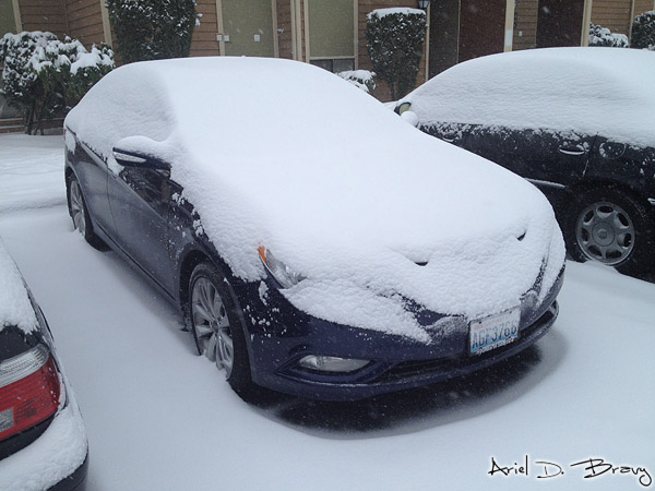 My car covered in snow