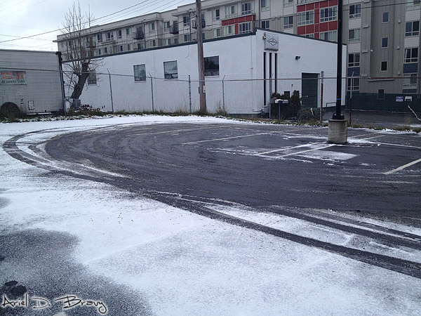 Remnants of my testing different cars' snow traction