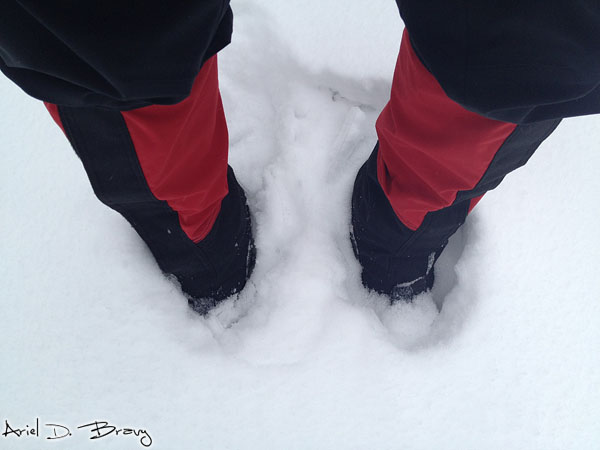 Sinking down past my ankles in snow