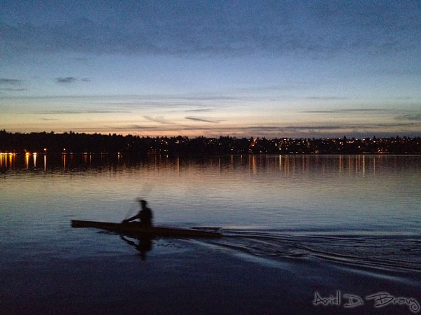Paddling across Green Lake