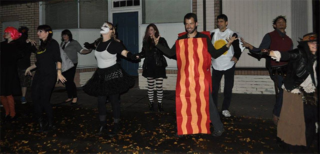 Ariel flash mobbing as Bacon for Halloween