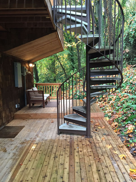 Tree house spiral staircase