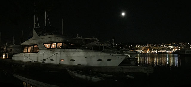 Yacht at night