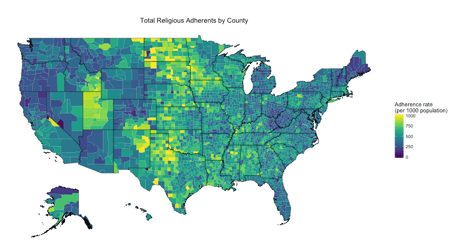 Mapping US Religion Adherence by County in R Rbloggers