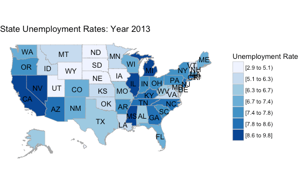 Mapping US State Unemployment Data AriLamsteincom - Us unemployment rate map
