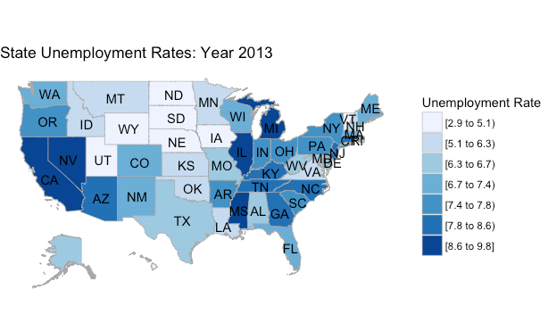 Mapping US State Unemployment Data AriLamsteincom - Unemployment in the us map