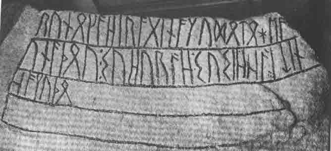 L'inscription runique sur la pierre « de Noleby » (trouvée en Suède au XIXe siècle, datée du Ve ou VIe siècle)