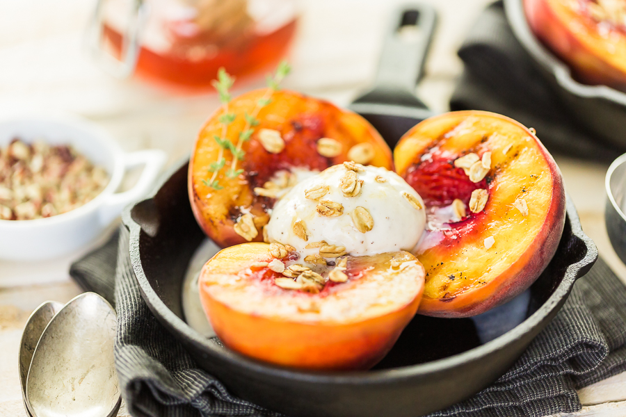 Grilled Peaches with Cinnamon Butter Glaze