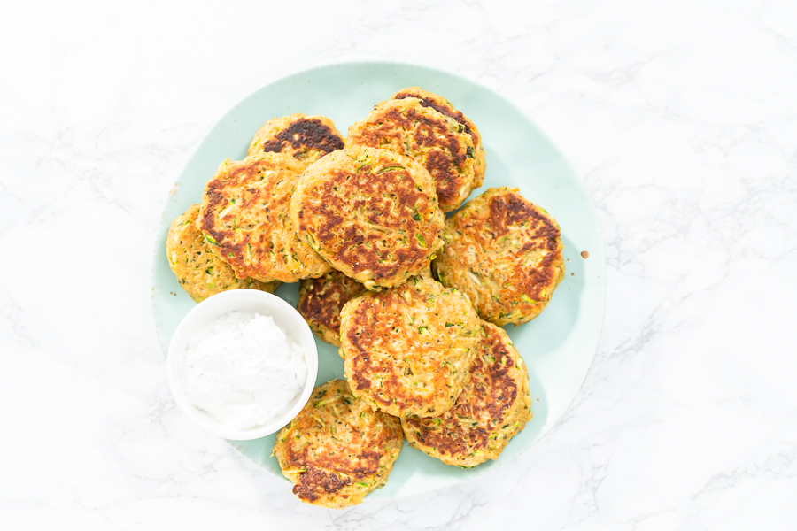 Zucchini Cakes and Herb and Sour Cream Spread