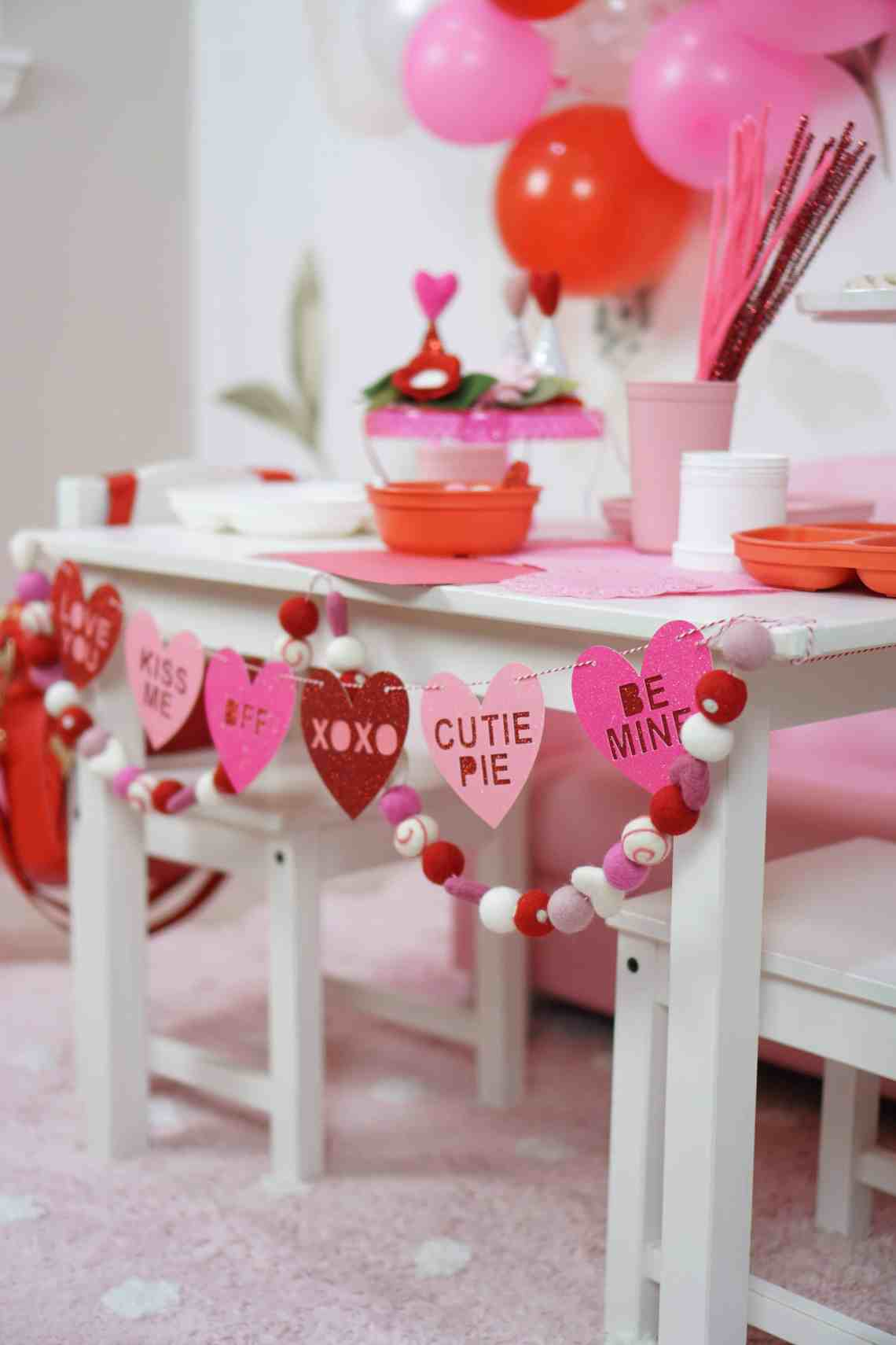 valentines day table for craft
