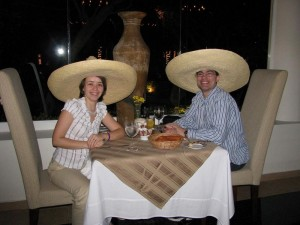 Sombreros at the restaurant.