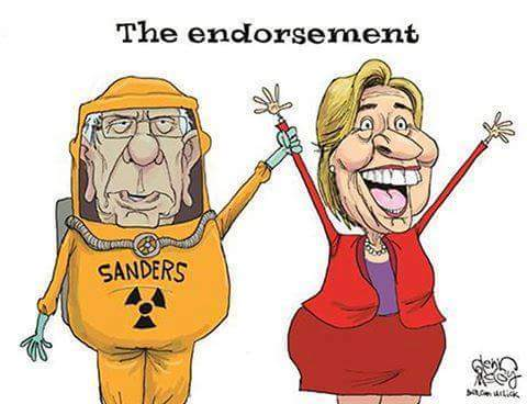 Bernie Sanders - The Endorsement with a radiation suit