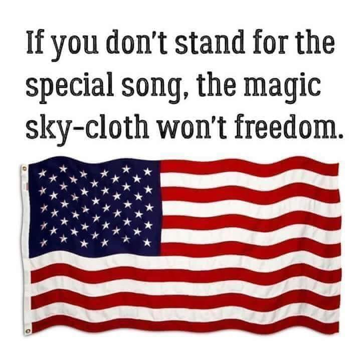 If you don't stand for the special song, the magical sky-cloth won't freedom!