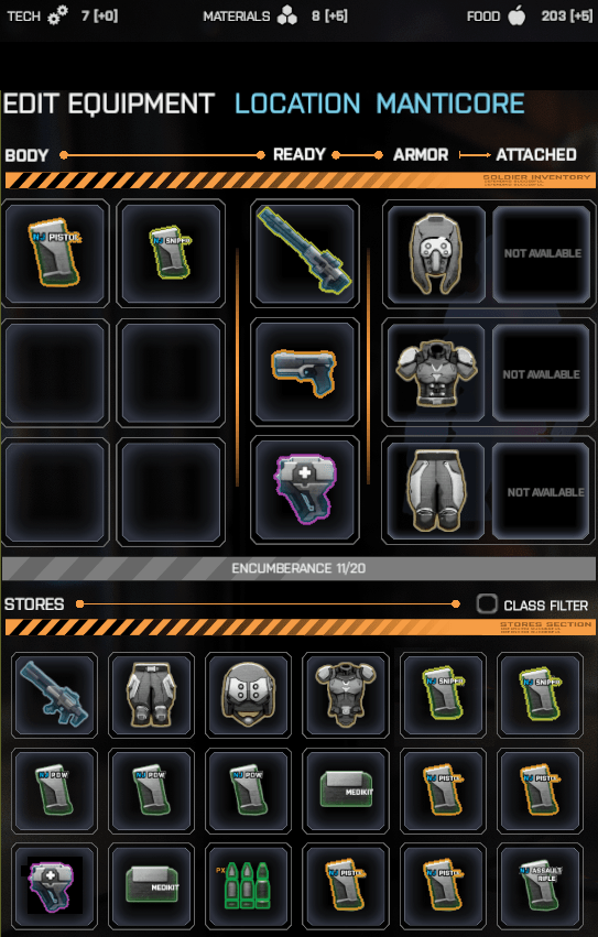 Color coding equipped weapons with their ammo (Phoenix Point)