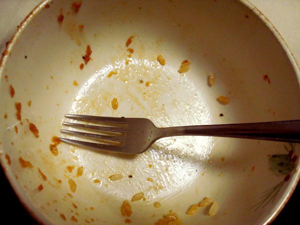 Empty Bowl after eating pork shogayaki
