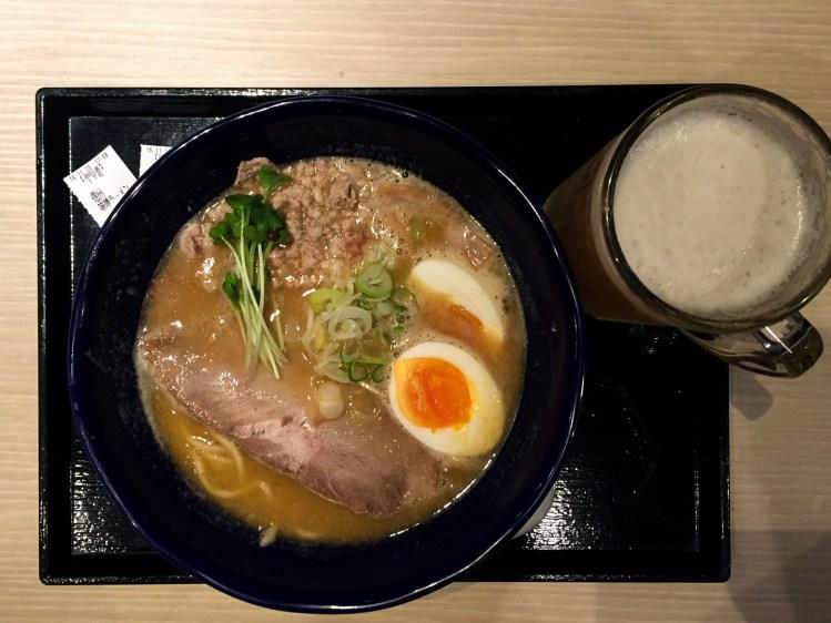 pork ramen and beer karuizawa nagano japan
