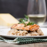 Parmesan Truffle Risotto with Grilled Salmon