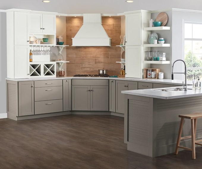 Brellin Gray And White Kitchen Cabinets