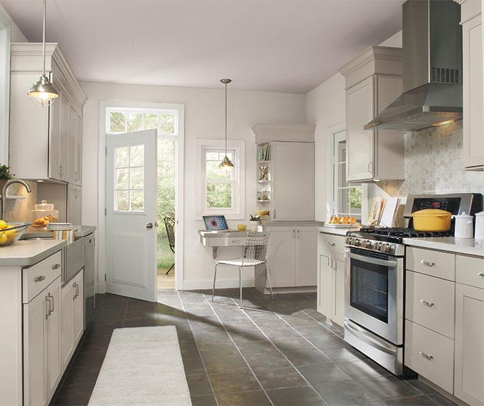 gray kitchen floor wood top island maple cabinets aristokraft cabinetry brellin light
