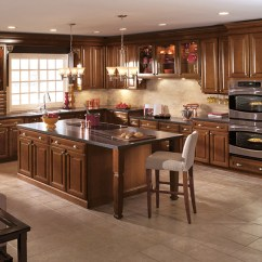 Oak Kitchen Cabinet Drawer Replacement Cherry Wood Cabinets Aristokraft Cabinetry In A Dark Saddle Finish