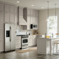 Two Tone Kitchen Island Islands With Breakfast Bar Gray White Cabinets In Aristokraft And A
