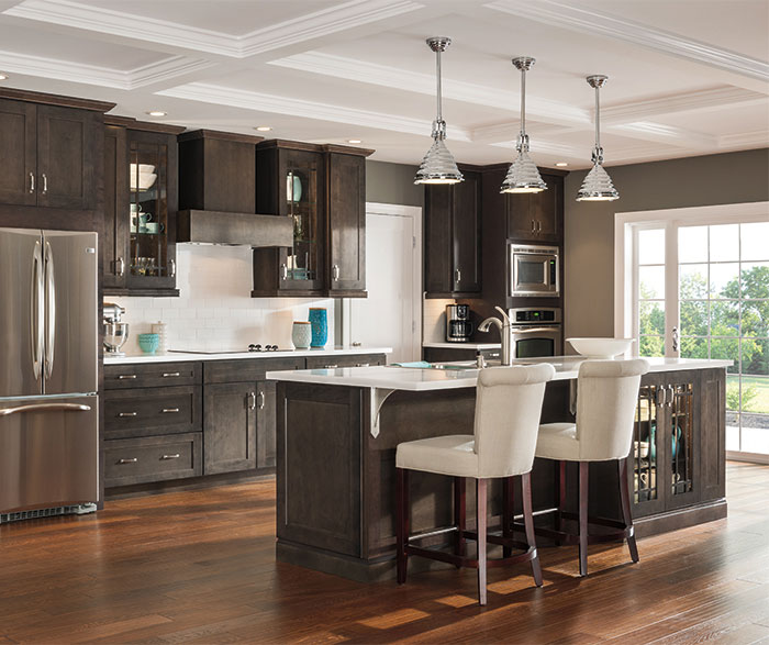 gray kitchen cabinets lantern lights dark aristokraft cabinetry by