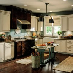 Rustic Kitchen Cabinet Prefab Outdoor Frames With Contrasting Finishes Aristokraft Cabinets