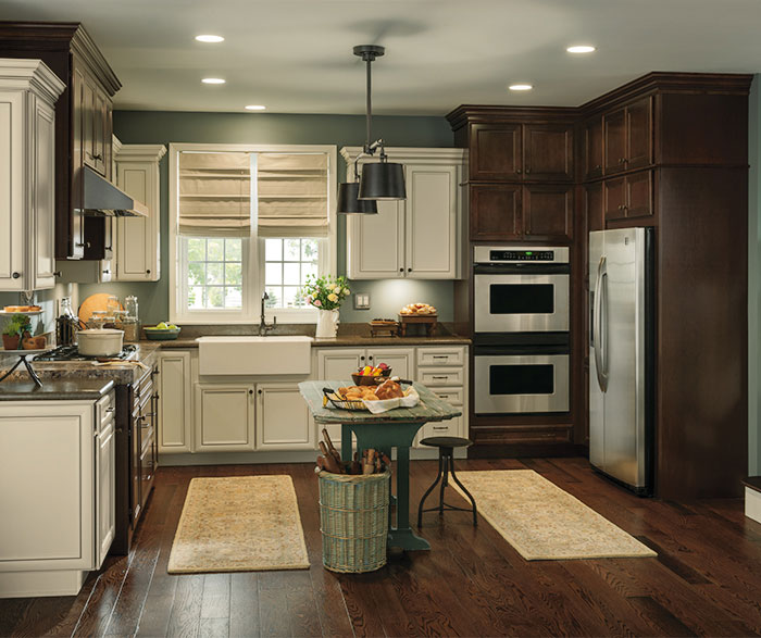 rustic kitchen cabinet backsplash for kitchens with contrasting finishes aristokraft by cabinetry cabinets