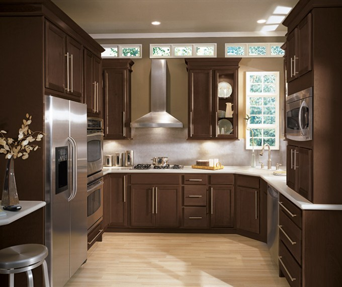 Aristokraft Cabinetry Sinclair Birch Wood Kitchen Cabinets In Umber Finish