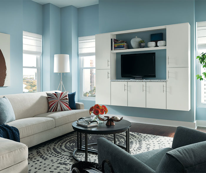 living room cabinet laminate flooring design in painted aristokraft white maple by cabinetry