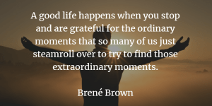 Brene's Brown quote - A good life happens when you stop and are grateful for the ordinary moments that so many of us just steamroll over to try to find those extraordinary moments.