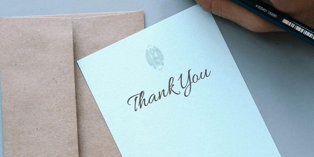 Showing gratitude with a thank you notes
