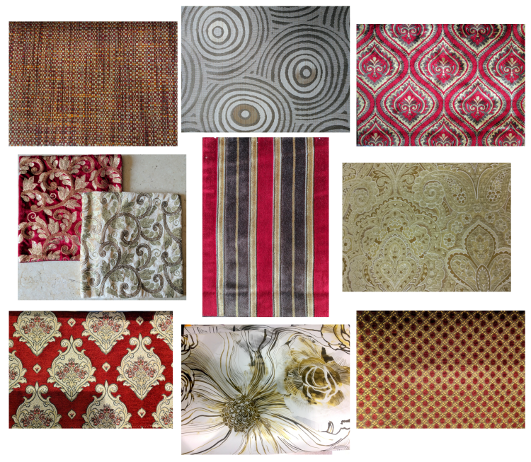 Fabric Selection - Red and gold living room mood board