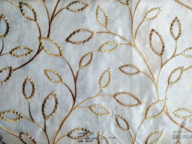 Fabric Selection - Cream and gold sheer for living room