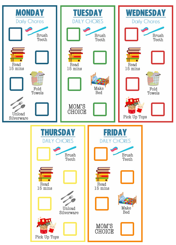 10 Cute Chore-Reward Ideas for Your Child's Room - Printable chart