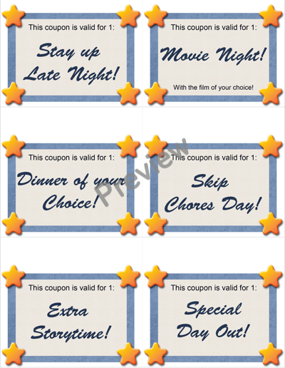 10 Cute Chore-Reward Ideas for Your Child's Room - Reward Coupons