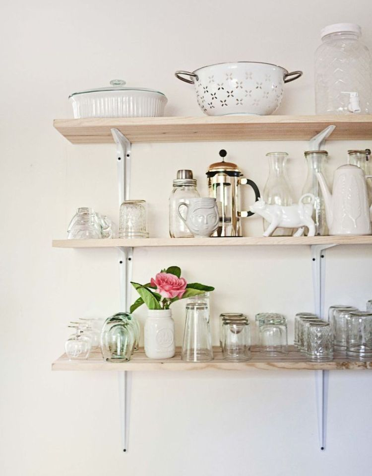 11 Ways To Make Big Space in Your Small Kitchen - Shelves on the Wall