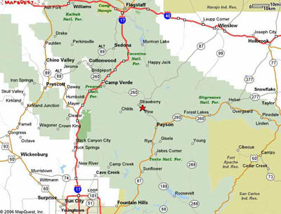 Strawberry Arizona  Article Map Directions Pictures