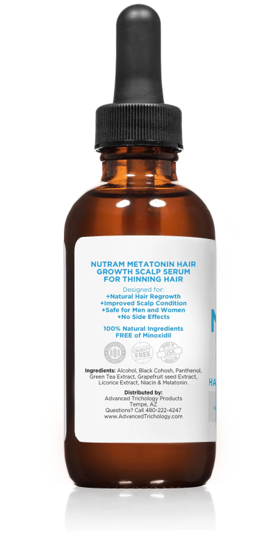 Topical Melatonin Hair Growth Serum Bottle Side