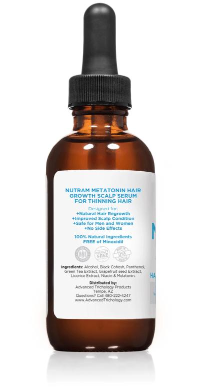 Topical Melatonin Hair Growth Serum Bottle Side